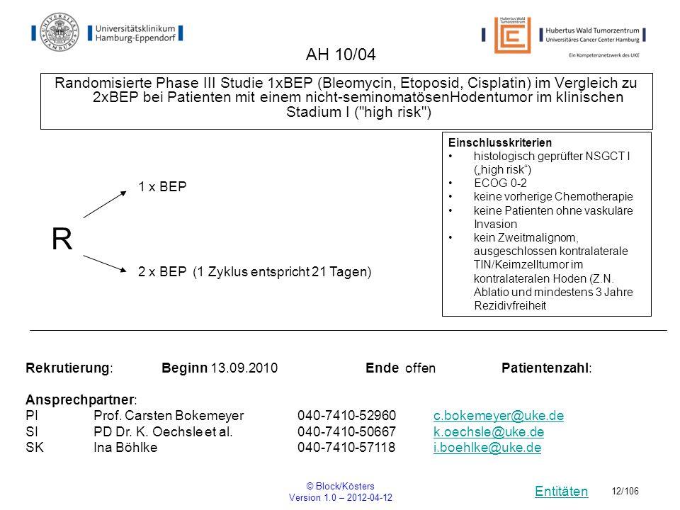 Entitäten © Block/Kösters Version 1.0 – 2012-04-12 12/106 AH 10/04 Randomisierte Phase III Studie 1xBEP (Bleomycin, Etoposid, Cisplatin) im Vergleich