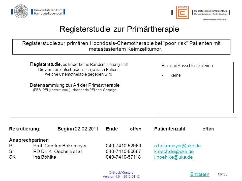 Entitäten © Block/Kösters Version 1.0 – 2012-04-12 13/106 Registerstudie zur primären Hochdosis-Chemotherapie bei