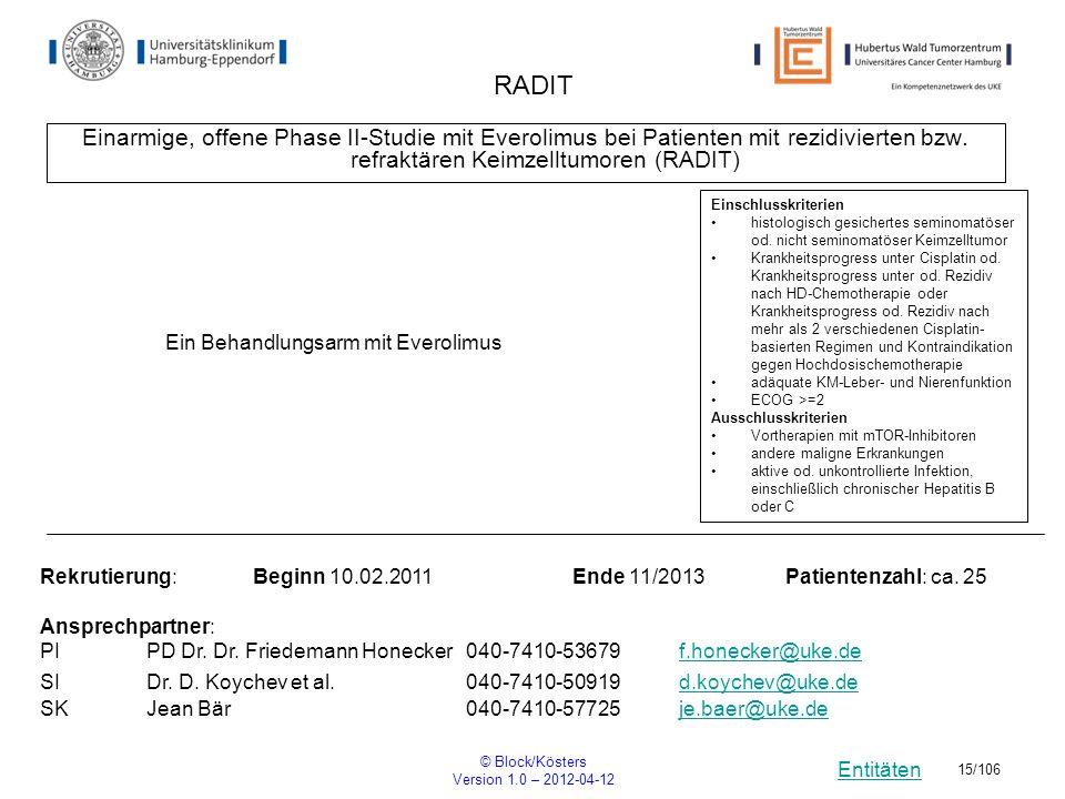 Entitäten © Block/Kösters Version 1.0 – 2012-04-12 15/106 RADIT Einarmige, offene Phase II-Studie mit Everolimus bei Patienten mit rezidivierten bzw.
