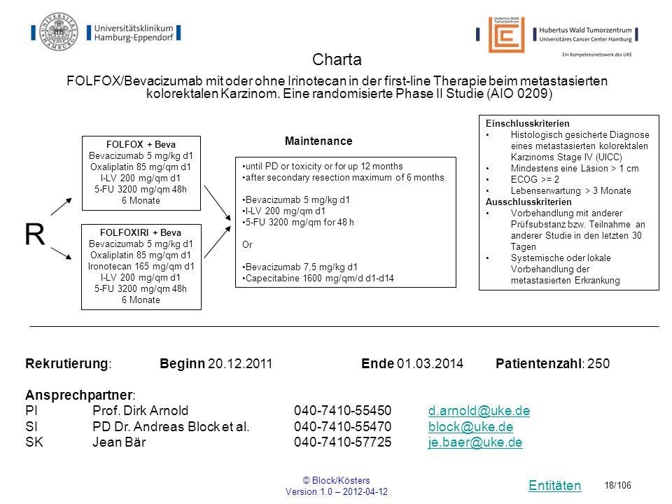 Entitäten © Block/Kösters Version 1.0 – 2012-04-12 18/106 Charta R Einschlusskriterien Histologisch gesicherte Diagnose eines metastasierten kolorekta