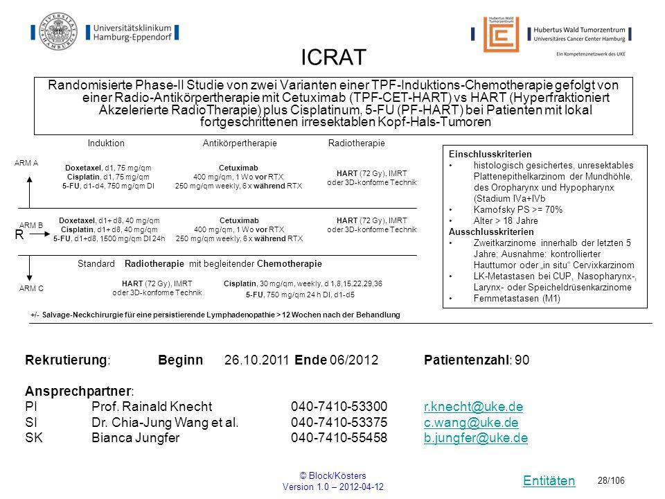 Entitäten © Block/Kösters Version 1.0 – 2012-04-12 28/106 ICRAT Randomisierte Phase-II Studie von zwei Varianten einer TPF-Induktions-Chemotherapie ge