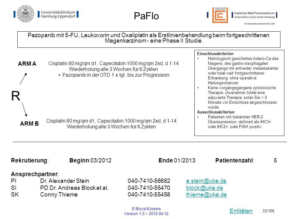Entitäten © Block/Kösters Version 1.0 – 2012-04-12 33/106 PaFlo Pazopanib mit 5-FU, Leukovorin und Oxaliplatin als Erstlinienbehandlung beim fortgesch