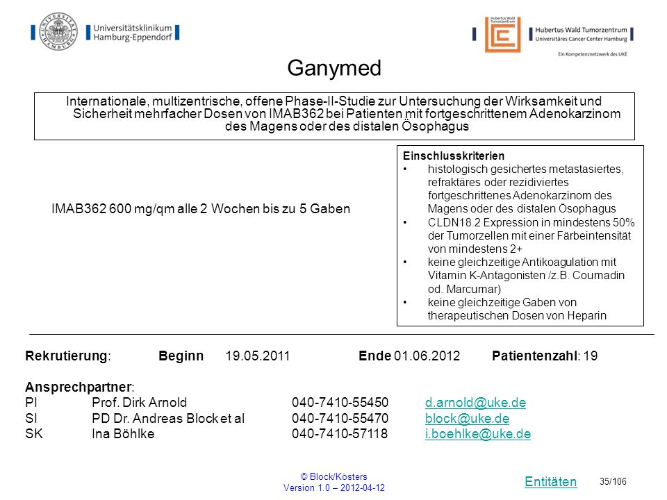 Entitäten © Block/Kösters Version 1.0 – 2012-04-12 35/106 Ganymed Internationale, multizentrische, offene Phase-II-Studie zur Untersuchung der Wirksam