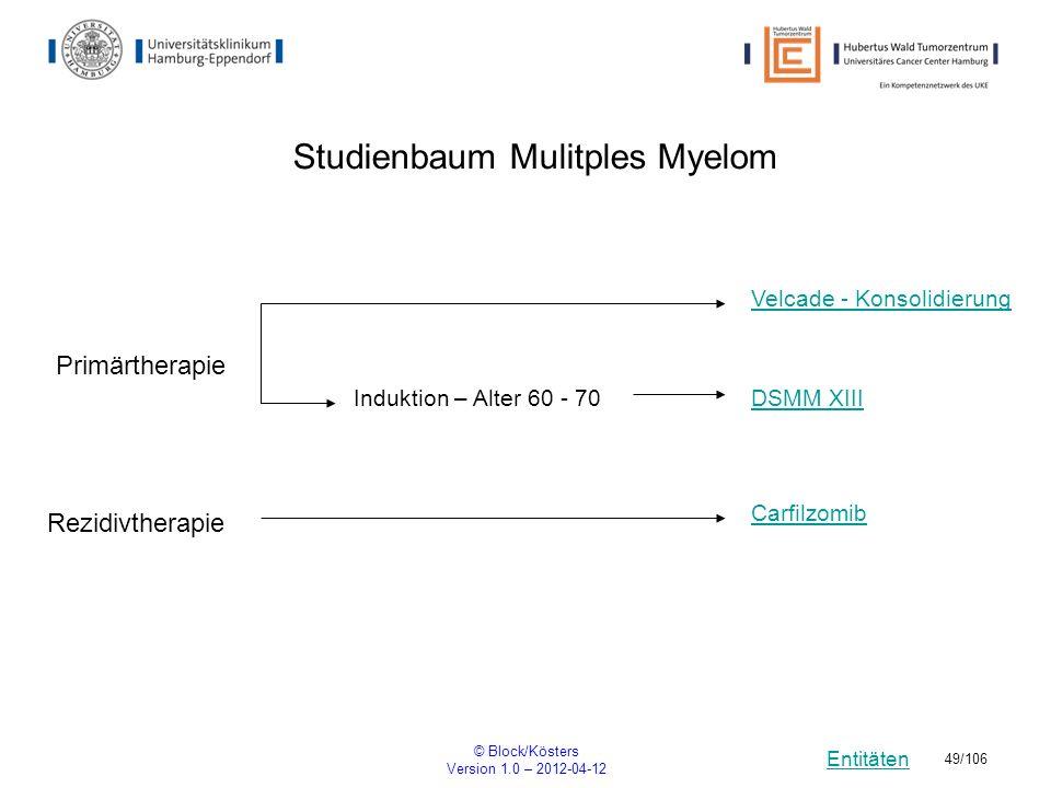 Entitäten © Block/Kösters Version 1.0 – 2012-04-12 49/106 Studienbaum Mulitples Myelom DSMM XIII Carfilzomib Primärtherapie Induktion – Alter 60 - 70