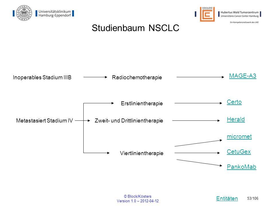 Entitäten © Block/Kösters Version 1.0 – 2012-04-12 53/106 Studienbaum NSCLC Viertlinientherapie Certo Herald MAGE-A3 RadiochemotherapieInoperables Sta