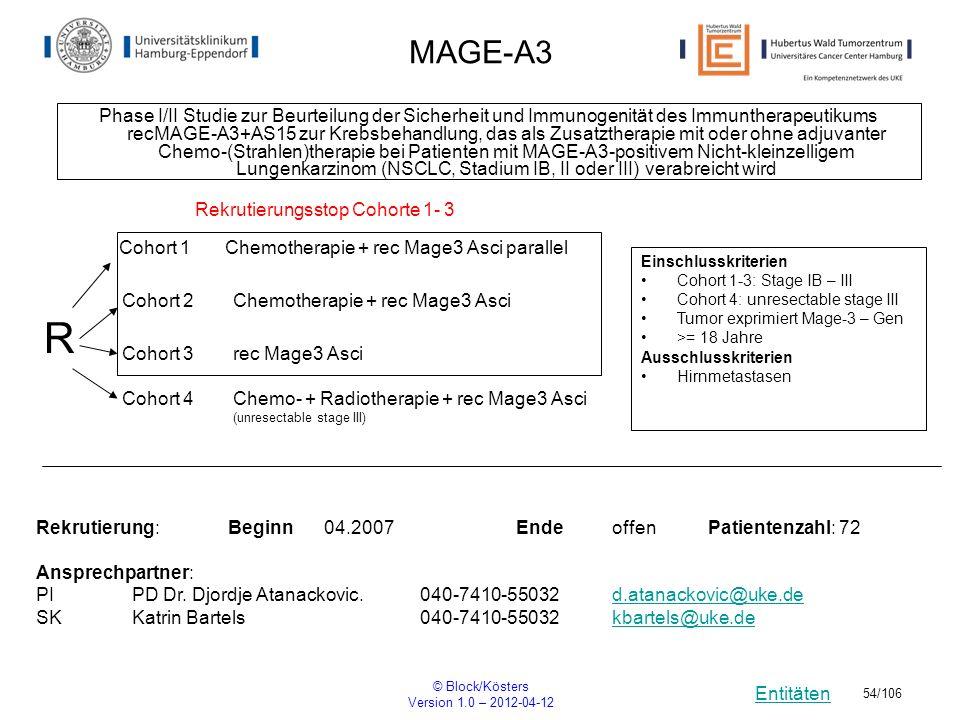 Entitäten © Block/Kösters Version 1.0 – 2012-04-12 54/106 MAGE-A3 Phase I/II Studie zur Beurteilung der Sicherheit und Immunogenität des Immuntherapeu