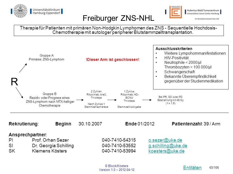Entitäten © Block/Kösters Version 1.0 – 2012-04-12 65/106 Freiburger ZNS-NHL Therapie für Patienten mit primären Non-Hodgkin Lymphomen des ZNS - Seque