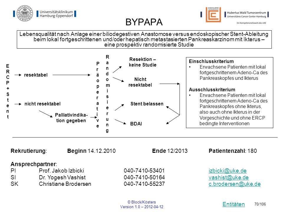 Entitäten © Block/Kösters Version 1.0 – 2012-04-12 70/106 BYPAPA Lebensqualität nach Anlage einer biliodegestiven Anastomose versus endoskopischer Ste