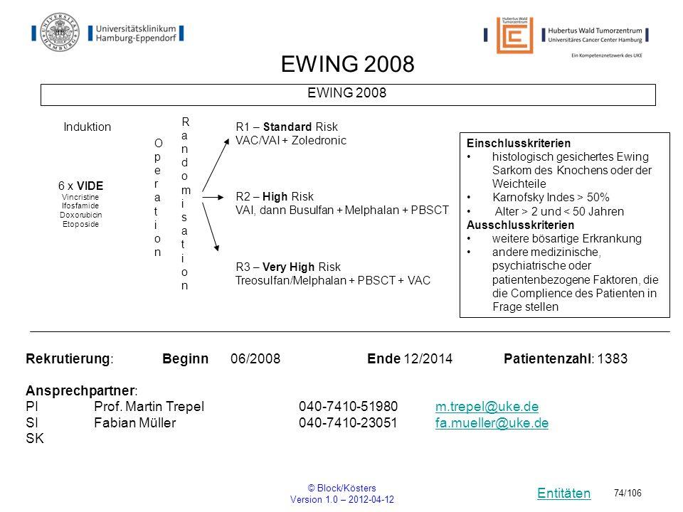 Entitäten © Block/Kösters Version 1.0 – 2012-04-12 74/106 EWING 2008 RandomisationRandomisation Rekrutierung: Beginn06/2008Ende 12/2014Patientenzahl: