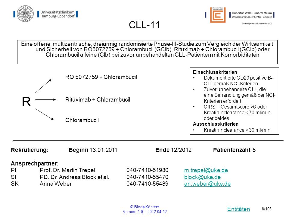Entitäten © Block/Kösters Version 1.0 – 2012-04-12 99/106 HS-10-393 A Multicentre, Open-Label, Crossover, Post-Registration Study to Assess the Effects of episil, Gelclair an ep-03 (An Alternative Device Formulation) on Intraoral Pain in Patients with Oral Mucositis Rekrutierung: Beginn01.04.2012Ende Patientenzahl: 900 Ansprechpartner: PIProf.