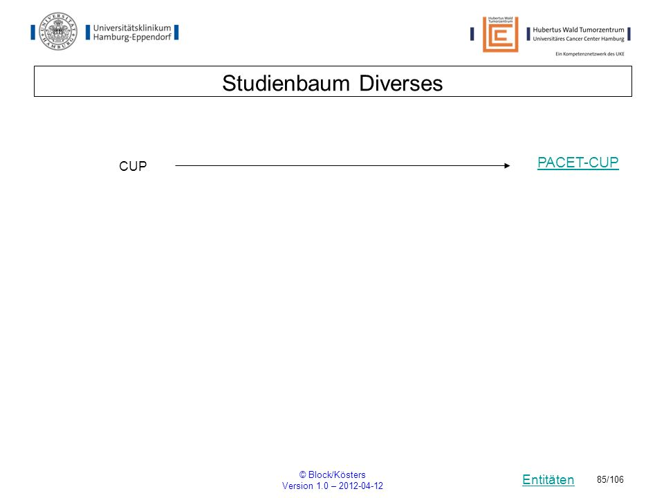 Entitäten © Block/Kösters Version 1.0 – 2012-04-12 85/106 Studienbaum Diverses CUP PACET-CUP