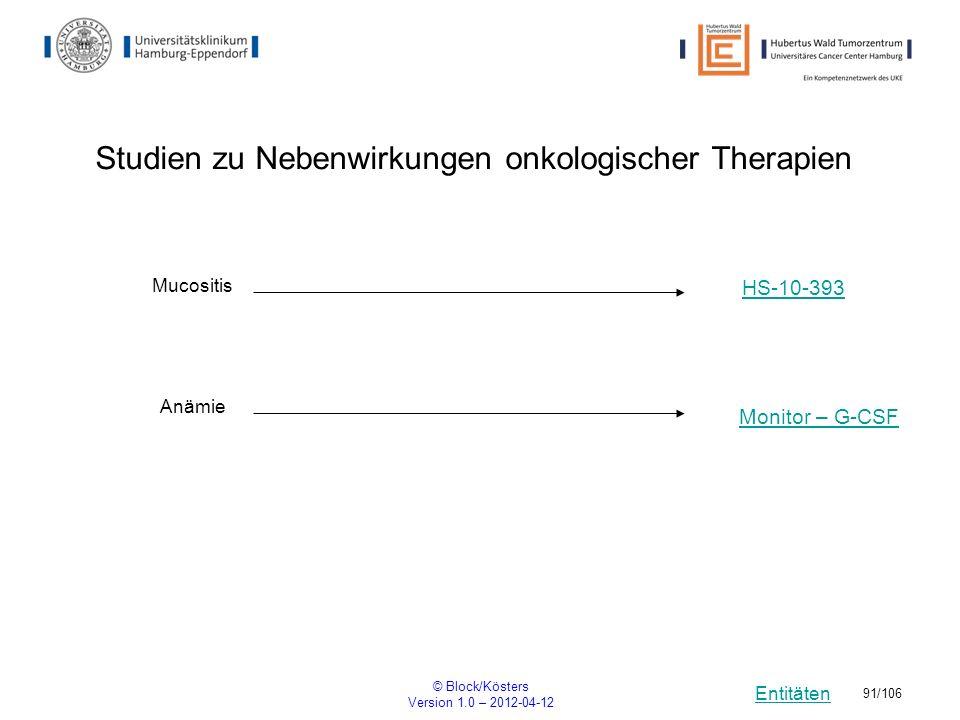 Entitäten © Block/Kösters Version 1.0 – 2012-04-12 91/106 Studien zu Nebenwirkungen onkologischer Therapien Mucositis HS-10-393 Anämie Monitor – G-CSF
