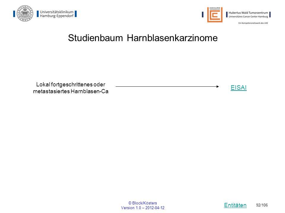 Entitäten © Block/Kösters Version 1.0 – 2012-04-12 92/106 Studienbaum Harnblasenkarzinome Lokal fortgeschrittenes oder metastasiertes Harnblasen-Ca EI