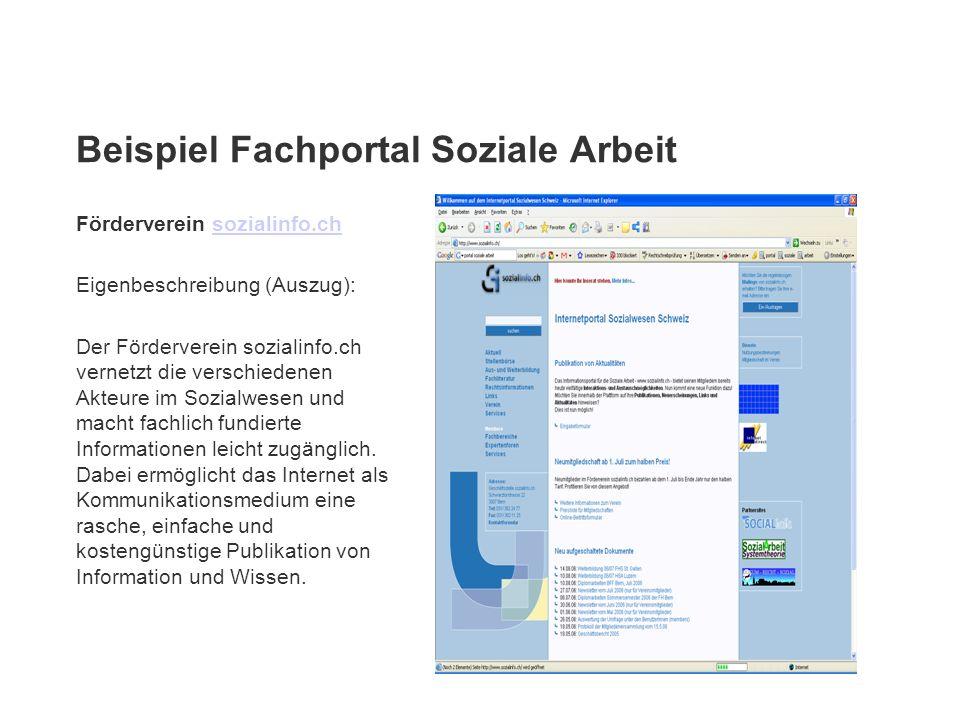 Beispiel Fachportal Soziale Arbeit Förderverein sozialinfo.chsozialinfo.ch Eigenbeschreibung (Auszug): Der Förderverein sozialinfo.ch vernetzt die ver