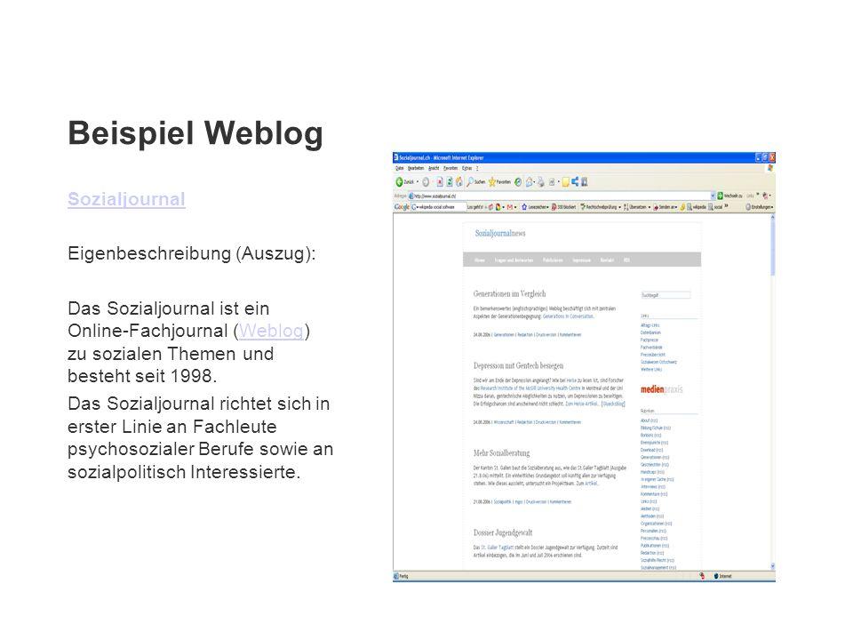 Beispiel Weblog Sozialjournal Eigenbeschreibung (Auszug): Das Sozialjournal ist ein Online-Fachjournal (Weblog) zu sozialen Themen und besteht seit 19