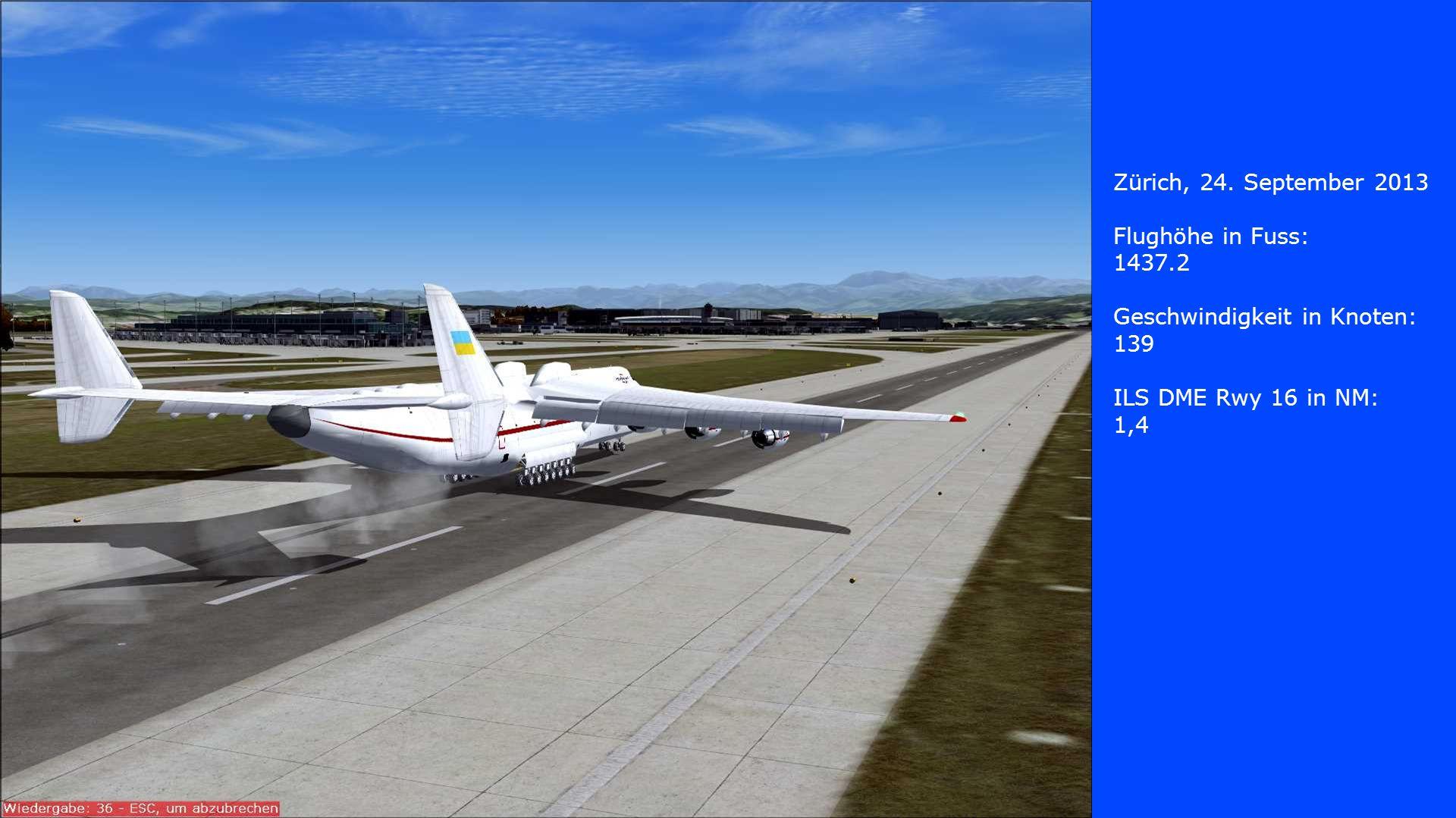 Zürich, 24. September 2013 Flughöhe in Fuss: 1437.2 Geschwindigkeit in Knoten: 139 ILS DME Rwy 16 in NM: 1,4