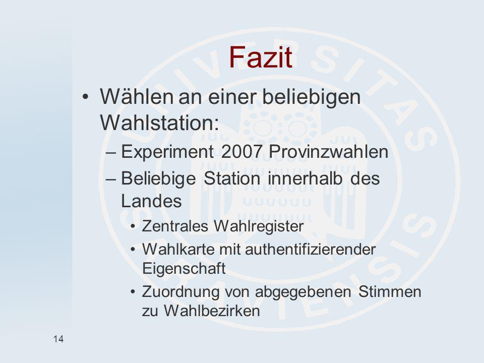 14 Fazit Wählen an einer beliebigen Wahlstation: –Experiment 2007 Provinzwahlen –Beliebige Station innerhalb des Landes Zentrales Wahlregister Wahlkar