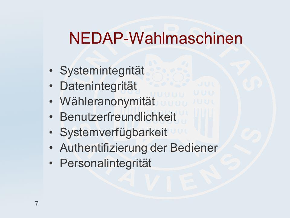 7 NEDAP-Wahlmaschinen Systemintegrität Datenintegrität Wähleranonymität Benutzerfreundlichkeit Systemverfügbarkeit Authentifizierung der Bediener Pers