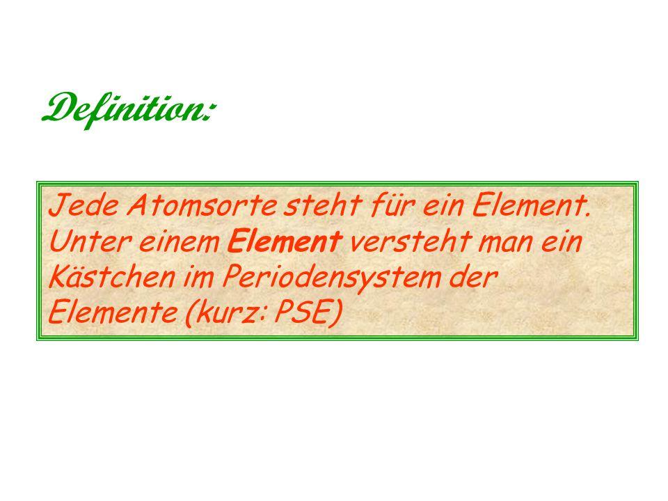 Definition: Jede Atomsorte steht für ein Element.