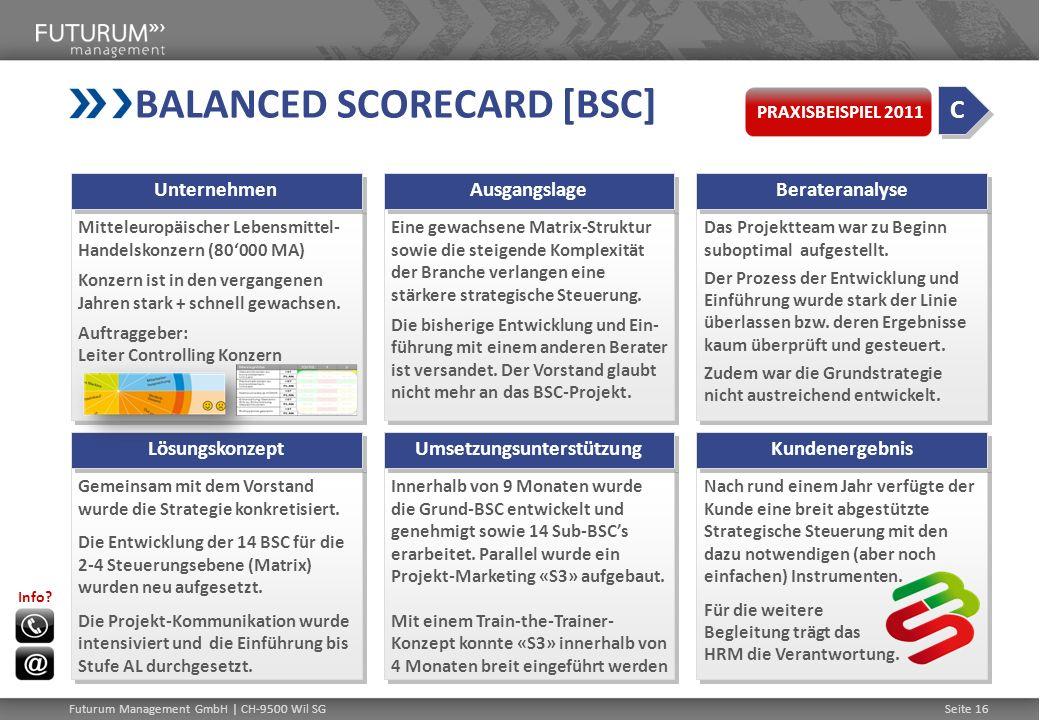 BALANCED SCORECARD [BSC] Mitteleuropäischer Lebensmittel- Handelskonzern (80000 MA) Konzern ist in den vergangenen Jahren stark + schnell gewachsen. A