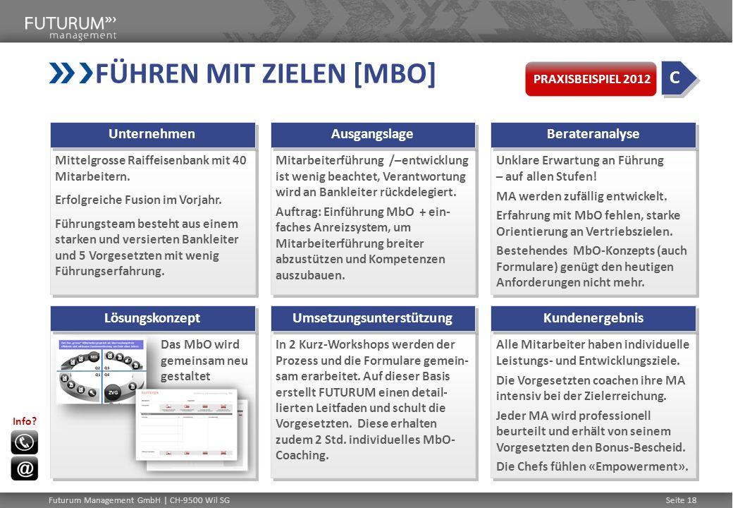 FÜHREN MIT ZIELEN [MBO] Mittelgrosse Raiffeisenbank mit 40 Mitarbeitern. Erfolgreiche Fusion im Vorjahr. Führungsteam besteht aus einem starken und ve