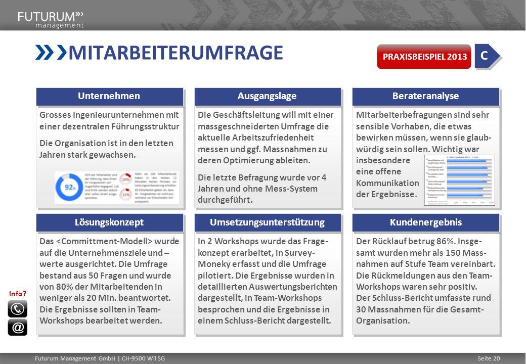 MITARBEITERUMFRAGE Grosses Ingenieurunternehmen mit einer dezentralen Führungsstruktur Die Organisation ist in den letzten Jahren stark gewachsen. Gro