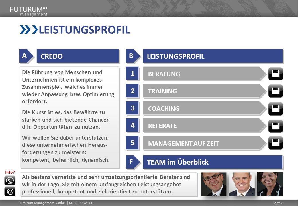 Futurum Management GmbH | CH-9500 Wil SGSeite 3 LEISTUNGSPROFIL Die Führung von Menschen und Unternehmen ist ein komplexes Zusammenspiel, welches imme
