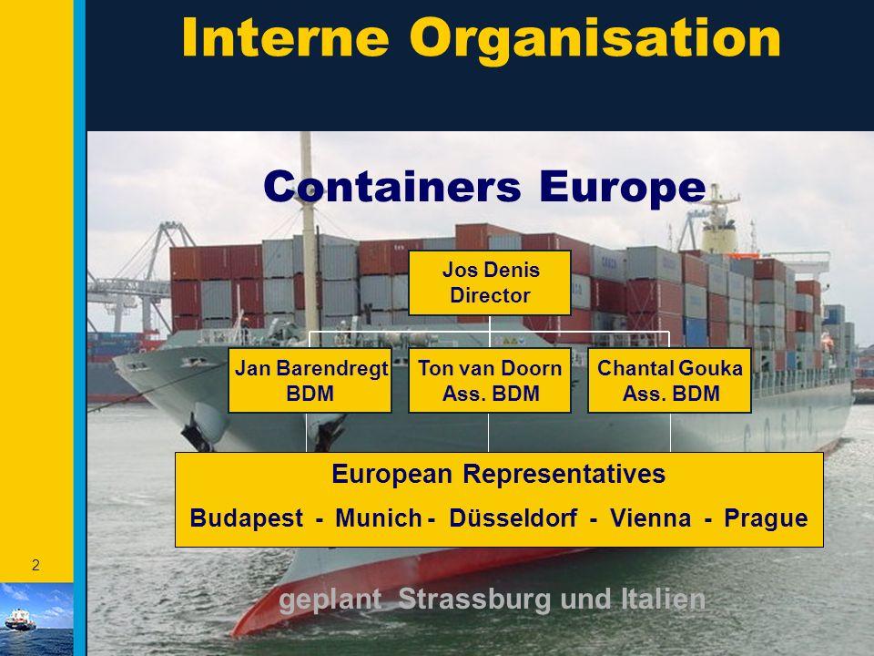 2 European Representatives Budapest - Munich - Düsseldorf - Vienna - Prague Interne Organisation Containers Europe Jan Barendregt BDM Ton van Doorn Ass.