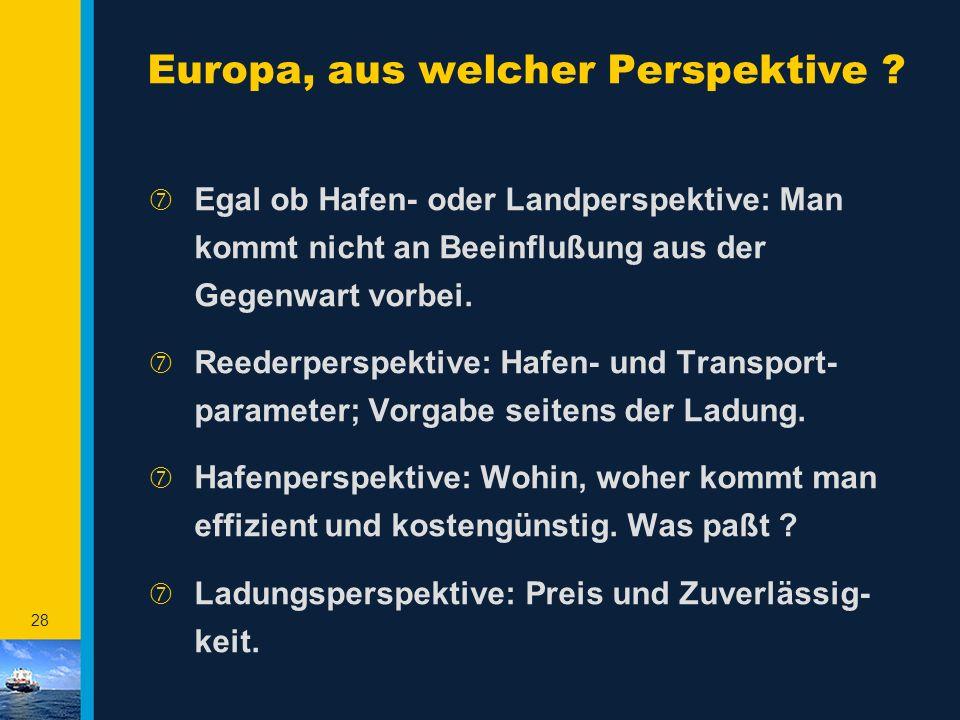 27 Investitionen müssen natürlich in Betrieb gebracht werden ‡ Markt z.Zt. 20 Mio TEU; Anteil ist 6 Mio TEU ‡ BiSchi starkes Instrument für Rotterdam