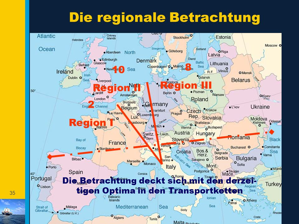 34 Die catchment areas in der HLH F & B Häfen Nordhäfen Rotterdam & Antwerpen