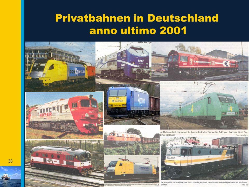 37 Die Lage von Rotterdam ermöglicht 1.000 TEU pro BiSchi pro Kw 17 TEU 6 TEU 5 TEU 1.000 TEU Kapazität = Stellplatzpreis/km/TEU EURO 0,02 Truck: EURO