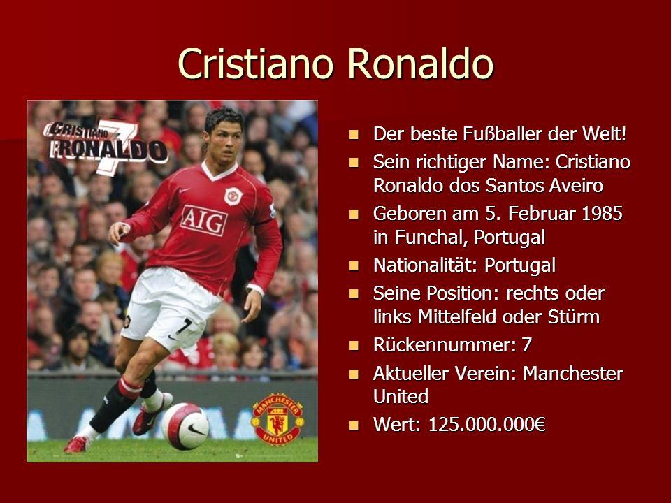 Cristiano Ronaldo Der beste Fußballer der Welt! Der beste Fußballer der Welt! Sein richtiger Name: Cristiano Ronaldo dos Santos Aveiro Sein richtiger