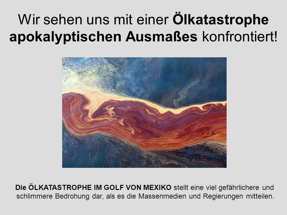 Wir sehen uns mit einer Ölkatastrophe apokalyptischen Ausmaßes konfrontiert! Die ÖLKATASTROPHE IM GOLF VON MEXIKO stellt eine viel gefährlichere und s