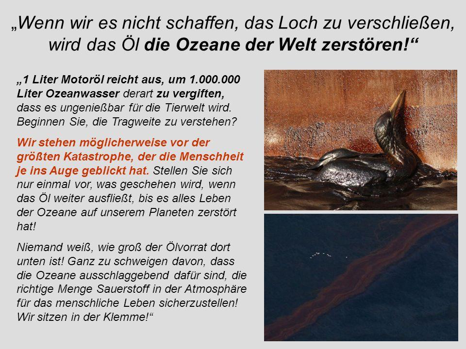 Wenn wir es nicht schaffen, das Loch zu verschließen, wird das Öl die Ozeane der Welt zerstören! 1 Liter Motoröl reicht aus, um 1.000.000 Liter Ozeanw