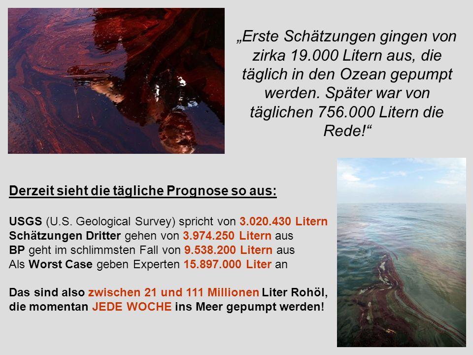 Derzeit sieht die tägliche Prognose so aus: USGS (U.S. Geological Survey) spricht von 3.020.430 Litern Schätzungen Dritter gehen von 3.974.250 Litern