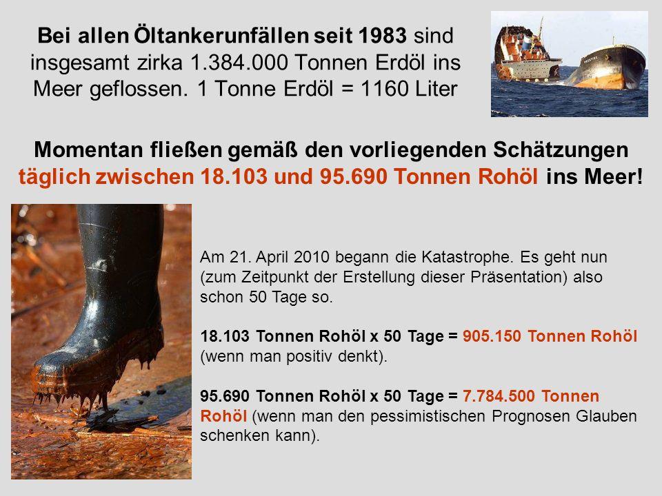 Bei allen Öltankerunfällen seit 1983 sind insgesamt zirka 1.384.000 Tonnen Erdöl ins Meer geflossen. 1 Tonne Erdöl = 1160 Liter Am 21. April 2010 bega