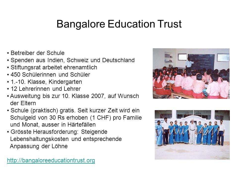 Bangalore Education Trust Betreiber der Schule Spenden aus Indien, Schweiz und Deutschland Stiftungsrat arbeitet ehrenamtlich 450 Schülerinnen und Schüler 1.-10.