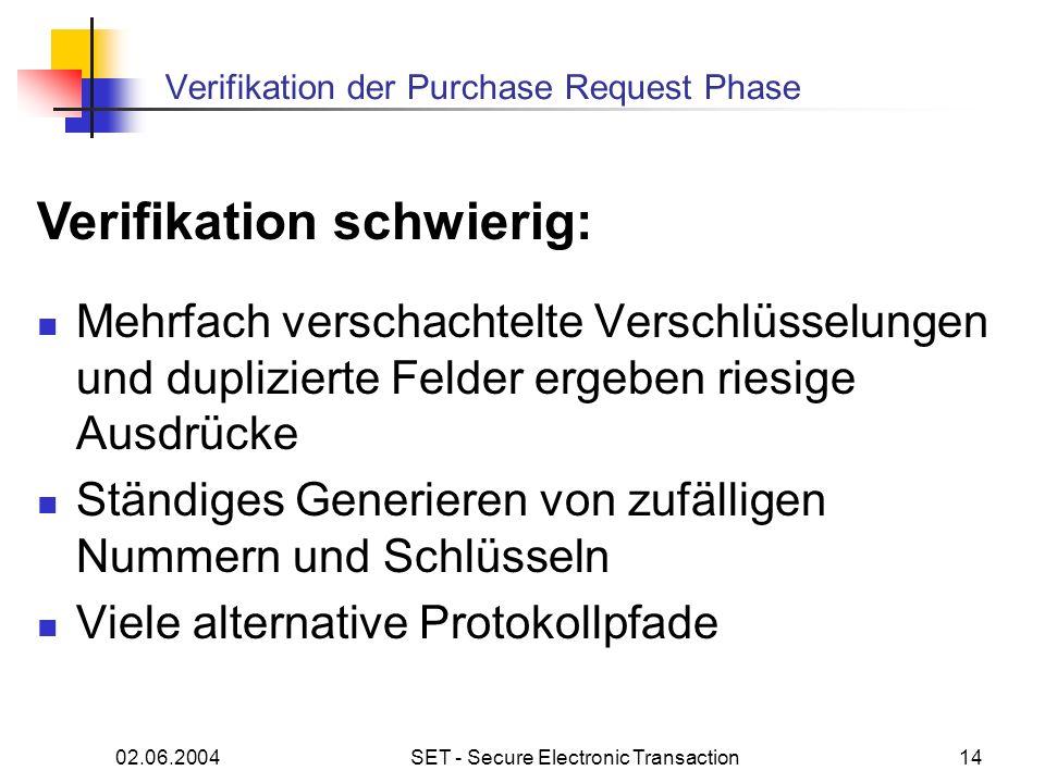 02.06.2004SET - Secure Electronic Transaction14 Verifikation der Purchase Request Phase Mehrfach verschachtelte Verschlüsselungen und duplizierte Felder ergeben riesige Ausdrücke Ständiges Generieren von zufälligen Nummern und Schlüsseln Viele alternative Protokollpfade Verifikation schwierig: