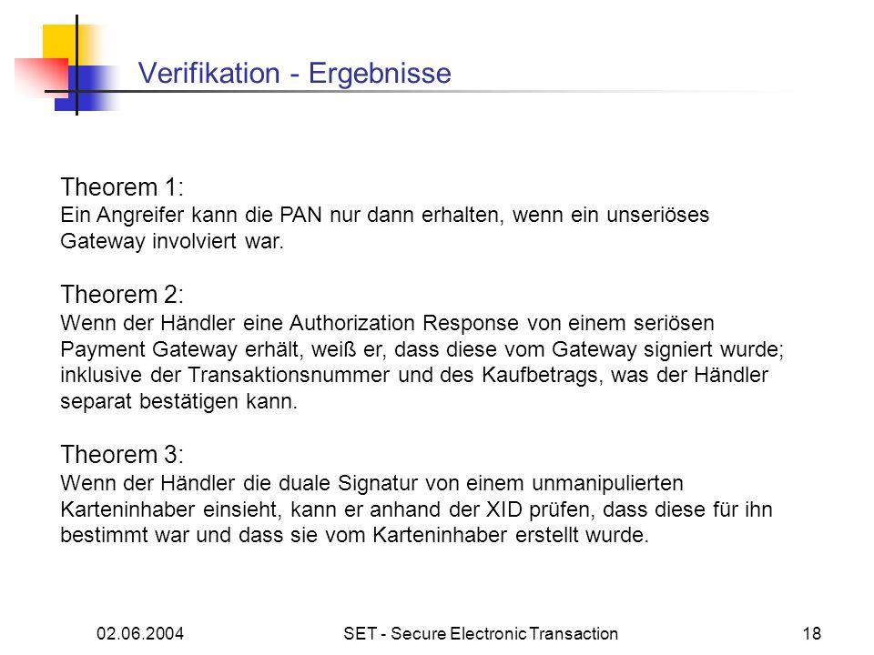 02.06.2004SET - Secure Electronic Transaction18 Verifikation - Ergebnisse Theorem 1: Ein Angreifer kann die PAN nur dann erhalten, wenn ein unseriöses Gateway involviert war.