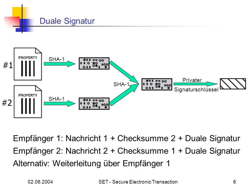 02.06.2004SET - Secure Electronic Transaction6 Duale Signatur SHA-1 #1 #2 SHA-1 Privater Signaturschlüssel Empfänger 1: Nachricht 1 + Checksumme 2 + D