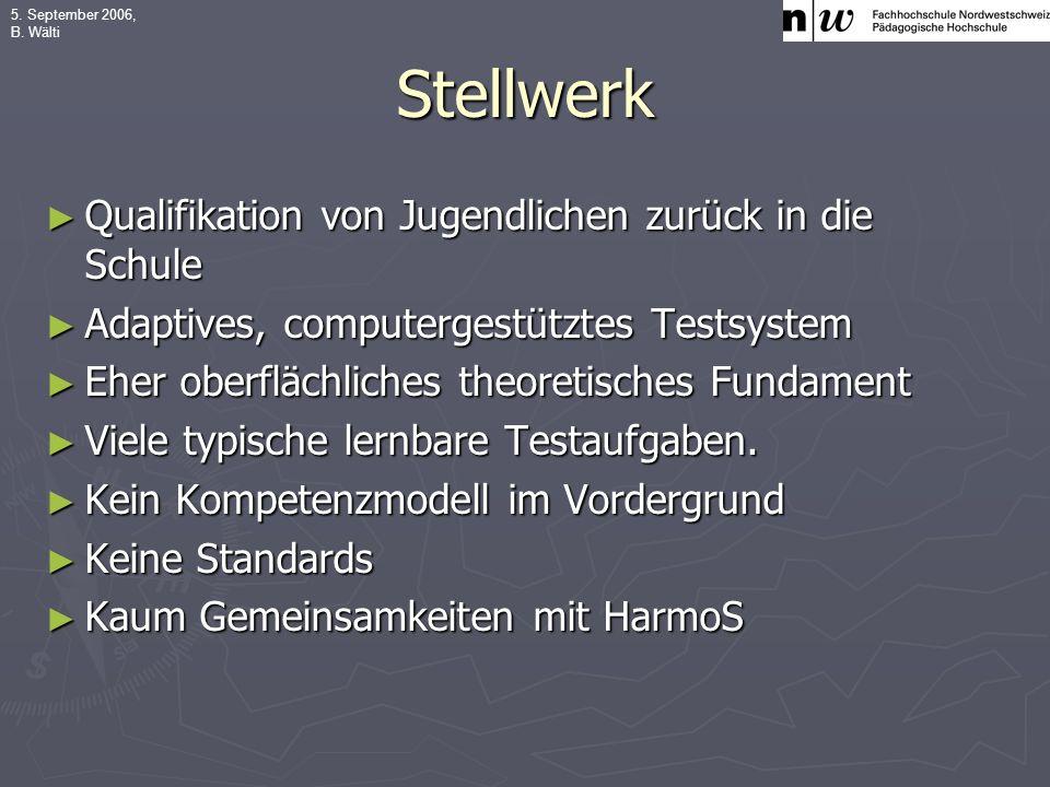5.September 2006, B. Wälti Wissen, Erkennen und Beschreiben Operieren und berechnen Instr.