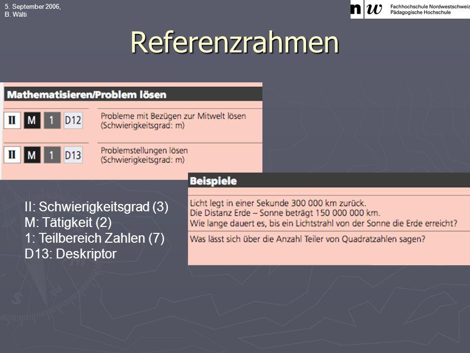 5. September 2006, B. Wälti Referenzrahmen II: Schwierigkeitsgrad (3) M: Tätigkeit (2) 1: Teilbereich Zahlen (7) D13: Deskriptor