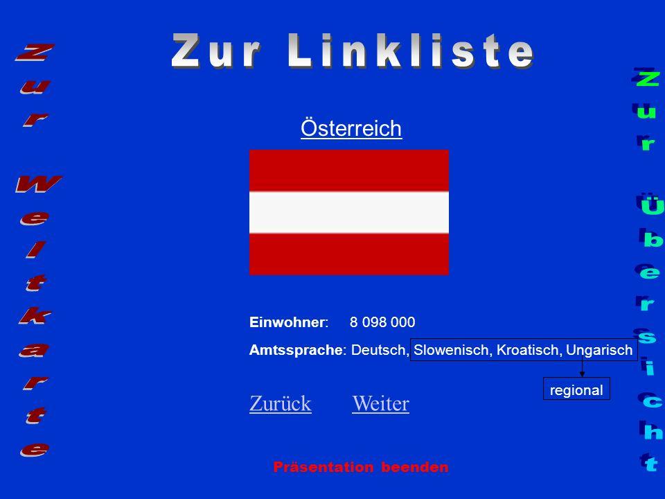 Österreich Präsentation beenden Einwohner: 8 098 000 regional Amtssprache: Deutsch, Slowenisch, Kroatisch, Ungarisch ZurückZurück WeiterWeiter