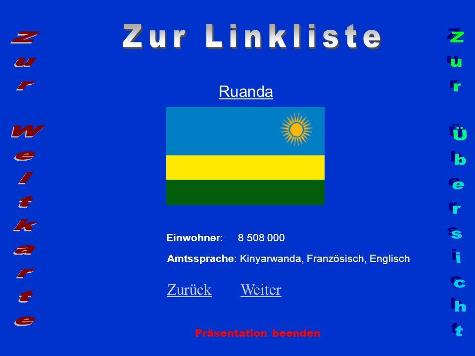 Ruanda Präsentation beenden Einwohner: 8 508 000 Amtssprache: Kinyarwanda, Französisch, Englisch ZurückZurück WeiterWeiter