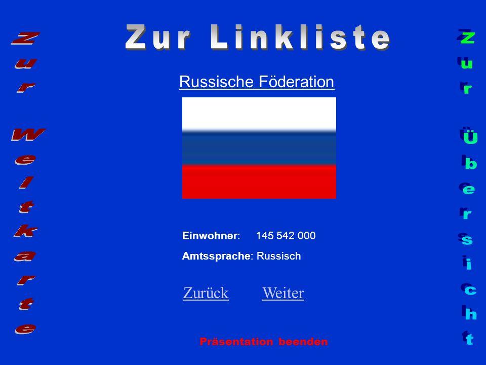 Russische Föderation Präsentation beenden Einwohner: 145 542 000 Amtssprache: Russisch ZurückZurück WeiterWeiter