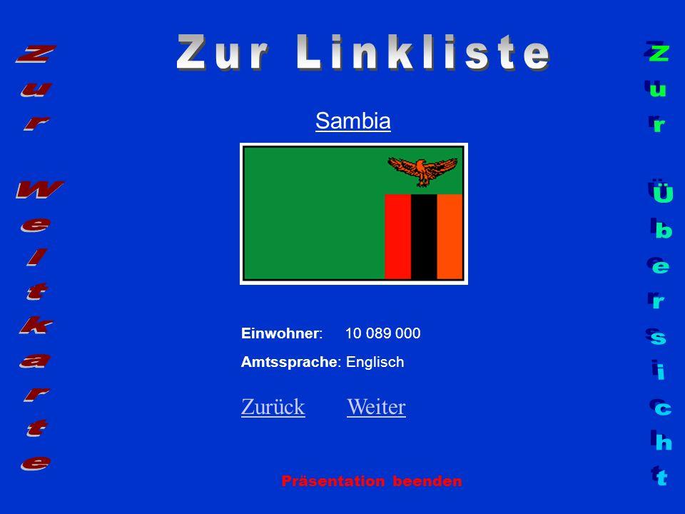 Sambia Präsentation beenden Einwohner: 10 089 000 Amtssprache: Englisch ZurückZurück WeiterWeiter