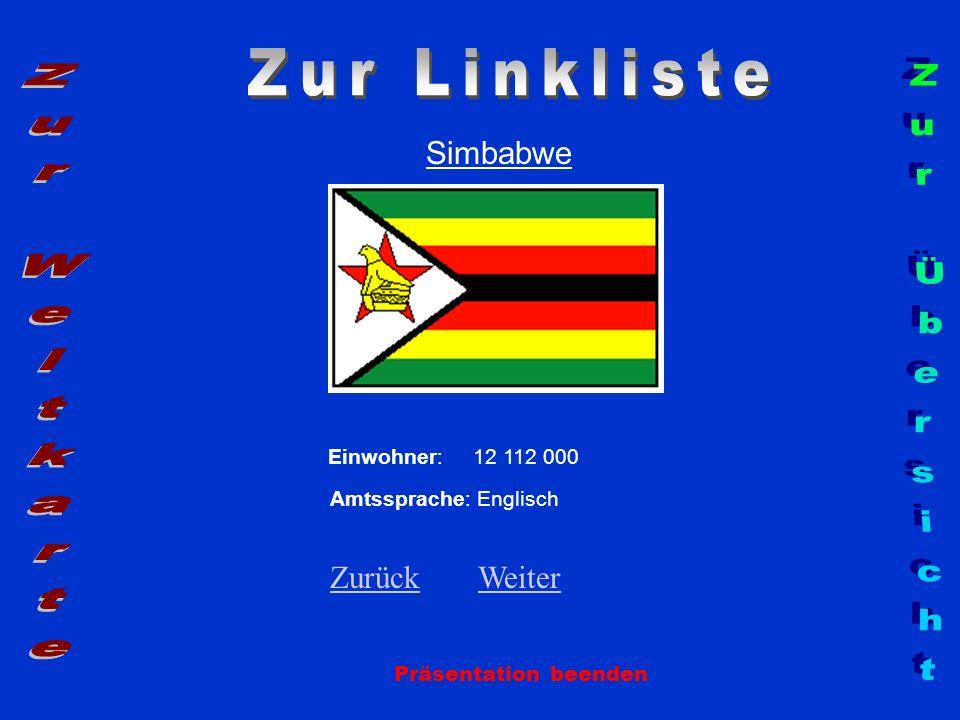Simbabwe Präsentation beenden Einwohner: 12 112 000 Amtssprache: Englisch ZurückZurück WeiterWeiter