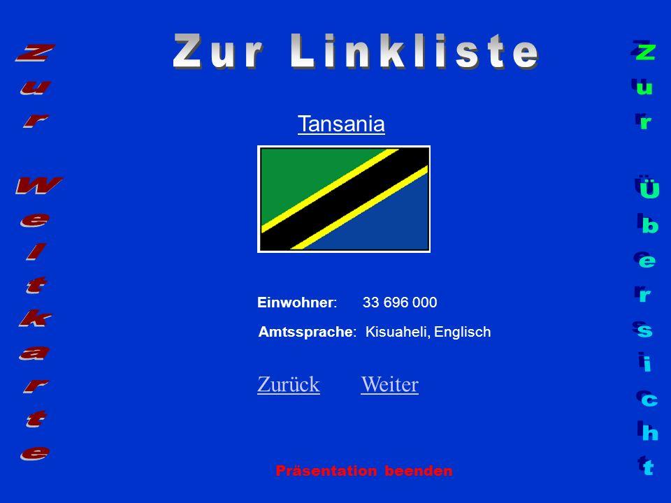 Tansania Präsentation beenden Einwohner: 33 696 000 Amtssprache: Kisuaheli, Englisch ZurückZurück WeiterWeiter