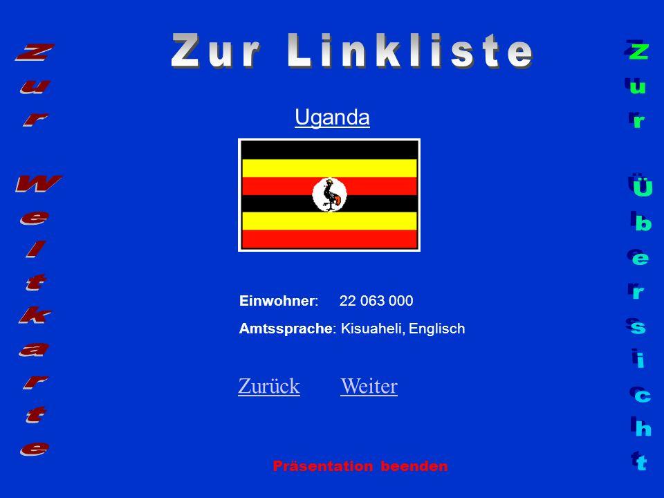 Uganda Präsentation beenden Einwohner: 22 063 000 Amtssprache: Kisuaheli, Englisch ZurückZurück WeiterWeiter