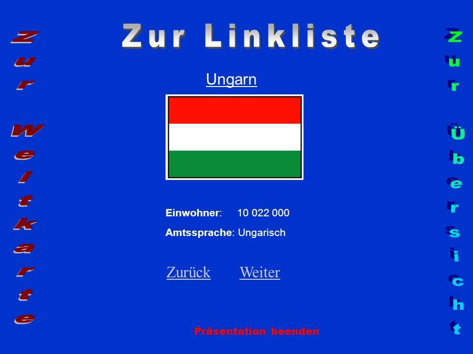 Ungarn Präsentation beenden Einwohner: 10 022 000 Amtssprache: Ungarisch ZurückZurück WeiterWeiter